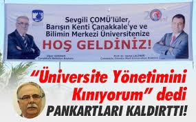 """""""Üniversite Yönetimini Kınıyorum"""" Dedi Pankartları Kaldırttı"""