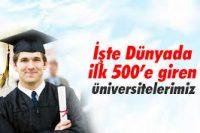 İşte Dünyada ilk 500'e giren üniversitelerimiz