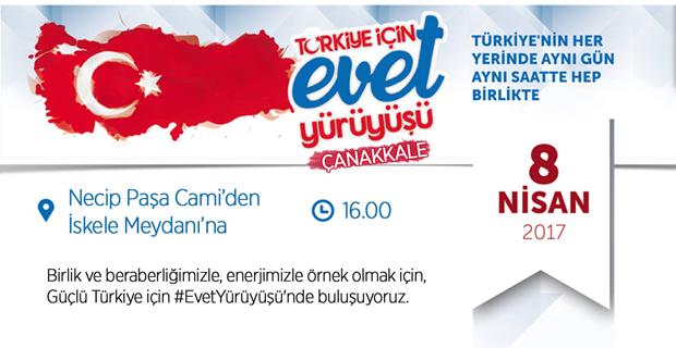 TÜGVA Çanakkale Türkiye İçin Evet Yürüyüşü Düzenliyor